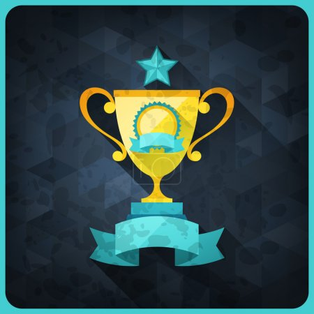 Grunge background with trophies and awards.