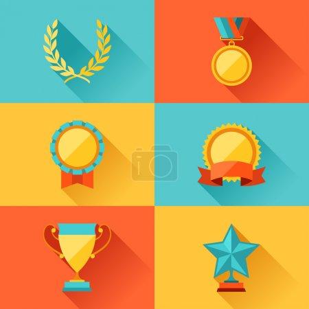 Illustration pour Trophée et récompenses dans le style flat design . - image libre de droit
