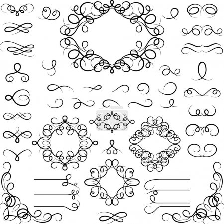 Illustration for Set of curled calligraphic design elements. - Royalty Free Image