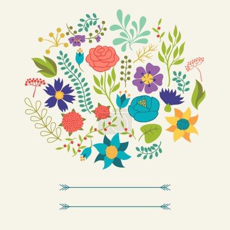 Illustration pour Fond romantique de diverses fleurs dans un style rétro . - image libre de droit
