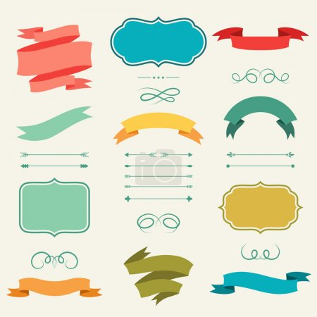 Illustration for Set of romantic arrows, ribbons and labels in retro style. - Royalty Free Image