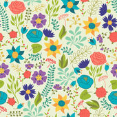 Romantic seamless pattern of various flowers in retro style