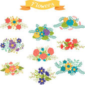 Set of floral bouquets various flowers in retro style