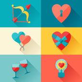 Valentýna a svatební zázemí v plochý design stylu