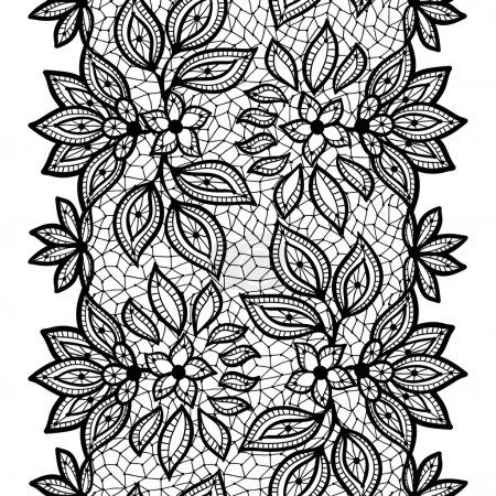 Old lace seamless pattern, ornamental border. Vect...