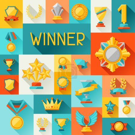 Background with trophy and awards in flat design style.