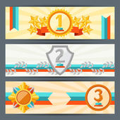 Horizontal banners with trophies and awards