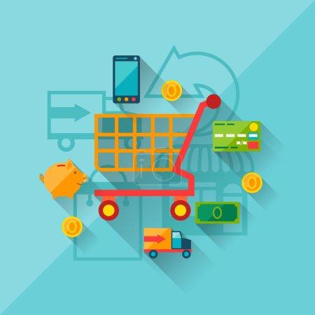 Illustration pour Concept d'illustration du shopping sur internet dans le style flat design . - image libre de droit