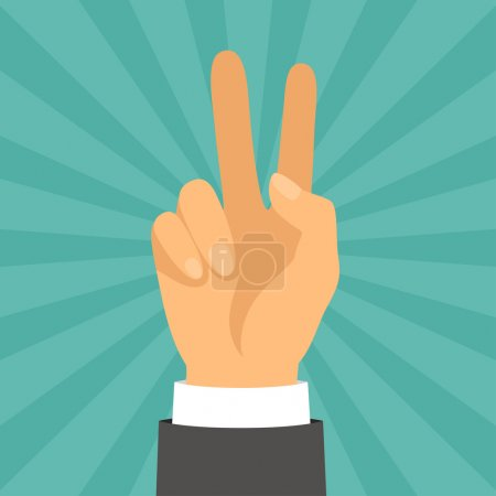 Hand shows victory sign in flat design style.