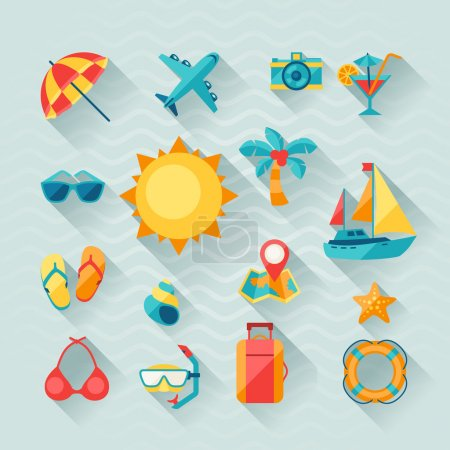 Illustration for Travel and tourism icon set in flat design style. - Royalty Free Image