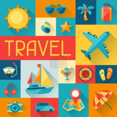 Travel and tourism background in flat design style.