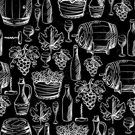 Illustration pour Modèle sans couture de vin dessiné à la craie . - image libre de droit