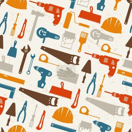 Illustration for Seamless pattern with repair working tools icons. - Royalty Free Image