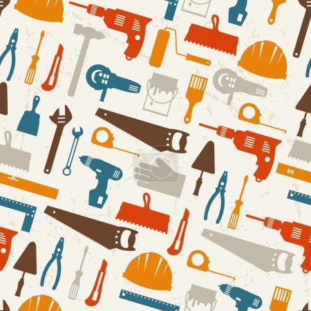 Illustration pour Modèle sans couture avec des icônes outils de travail de réparation . - image libre de droit