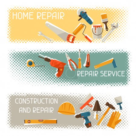 Repair and construction horizontal banners with tools icons.