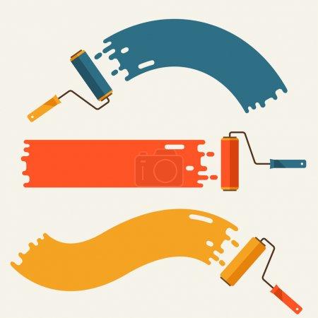 Illustration pour Jeu de brosses à rouleaux avec bandes de peinture . - image libre de droit