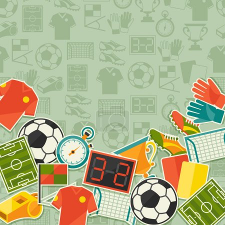 Illustration for Sports background with soccer (football) sticker icons. - Royalty Free Image