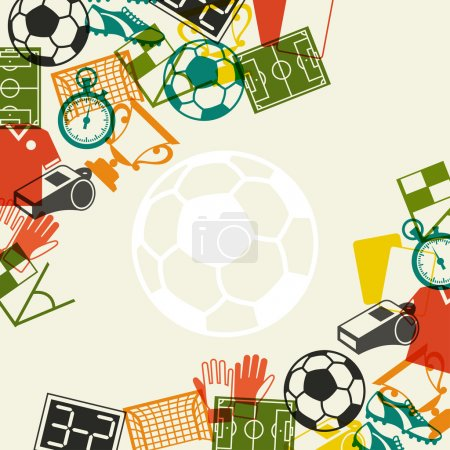 Illustration for Sports background with soccer (football) flat icons. - Royalty Free Image