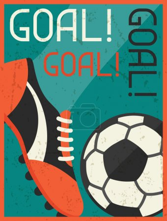 Goal! Retro poster in flat design style.