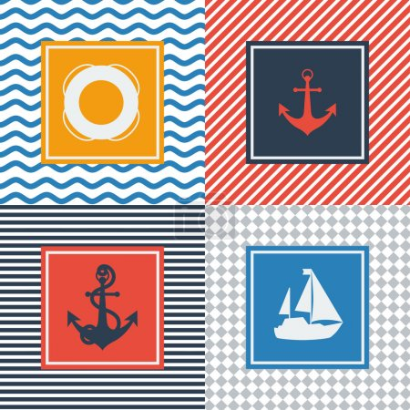 Set of cards with nautical symbols in flat design style.
