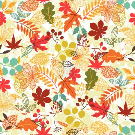 Illustration for Seamless vector pattern with stylized autumn leaves. - Royalty Free Image