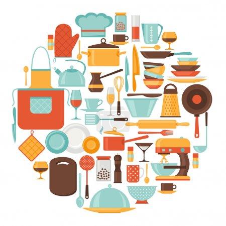 Illustration pour Arrière-plan avec ustensiles de cuisine et de restaurant icônes . - image libre de droit