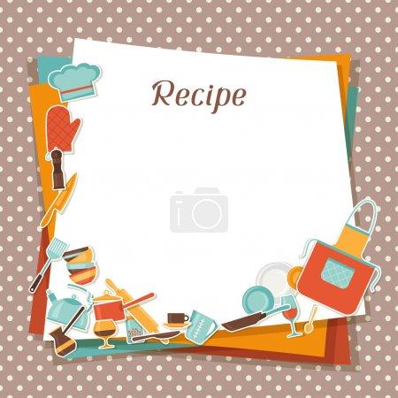 Recipe background with kitchen and restaurant utensils.