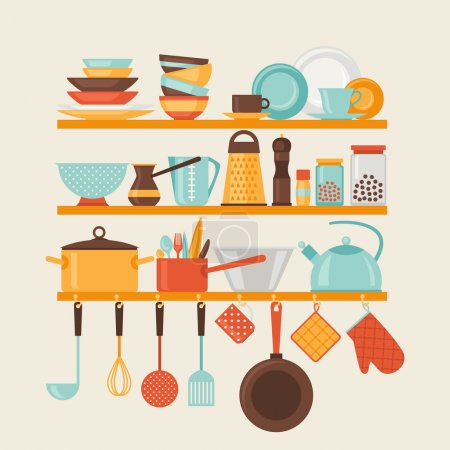Illustration for Card with kitchen shelves and cooking utensils in retro style. - Royalty Free Image