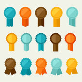 Set of colored badges labels awards in flat design style