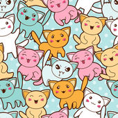 Seamless kawaii cartoon pattern with cute cats