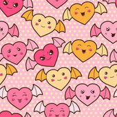 Seamless kawaii cartoon pattern with cute hearts