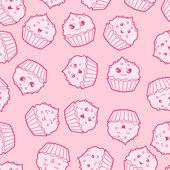Seamless kawaii cartoon pattern with cute cupcakes