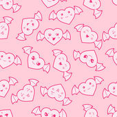 Seamless kawaii cartoon pattern with cute hearts