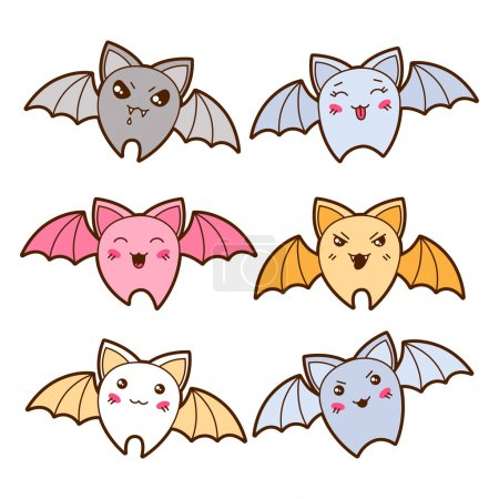 Illustration for Set of kawaii bats with different facial expressions. - Royalty Free Image