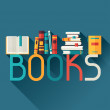 Education background with books in flat design sty...
