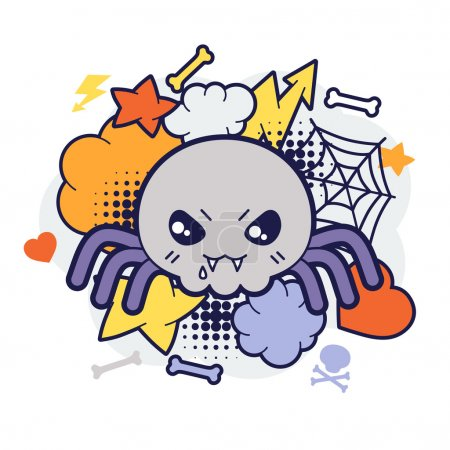 Halloween kawaii print or card with cute doodle spider.