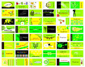Set of 48 business cards in bright green
