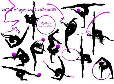 Gymnast's silhouettes