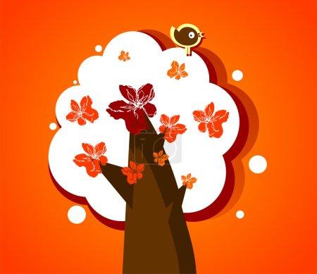 Illustration pour Arbre à fleurs abstrait avec oiseau drôle - image libre de droit