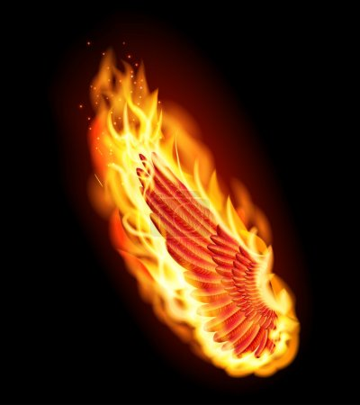 Left red wing on fire