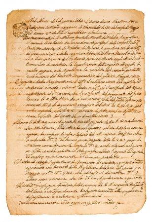 Foto de Antiguo manuscrito aislado en blanco - Imagen libre de derechos
