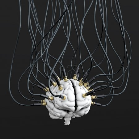 Photo for 3D illustration of cables connected to brain. Mind control concept - Royalty Free Image