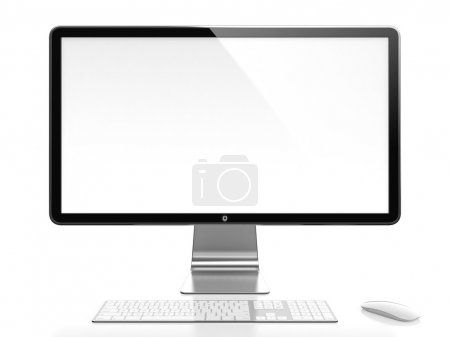 Photo for Computer monitor with white blank screen isolated on white background - Royalty Free Image