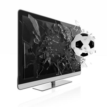 Photo pour Illustration 3D de l'écran de télévision de football. Télévision stéréoscopique . - image libre de droit