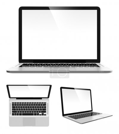 Photo for Image set of modern laptop in different angles - Royalty Free Image