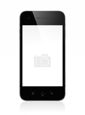 Photo for 3D illustration of modern mobile phone with white blank screen isolated on white background - Royalty Free Image