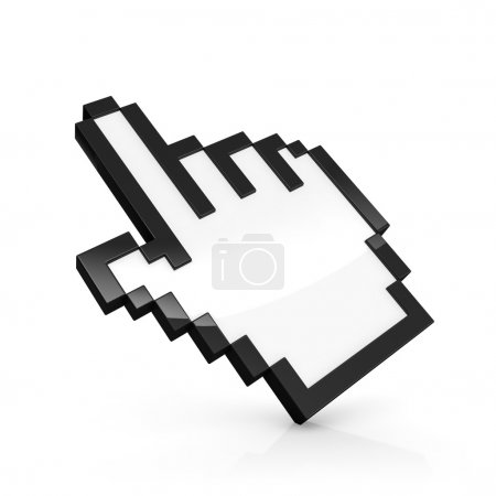 3D illustration of pixelated hand pointer isolated...