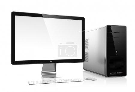 Photo pour Illustration 3D de l'ordinateur moderne isolé sur fond blanc - image libre de droit