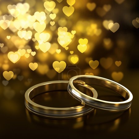 Photo for Two golden wedding rings with heart bokeh on background - Royalty Free Image