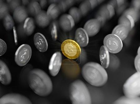 Photo pour Illustration 3D de pièce d'or parmi celles d'argent sur fond sombre - image libre de droit
